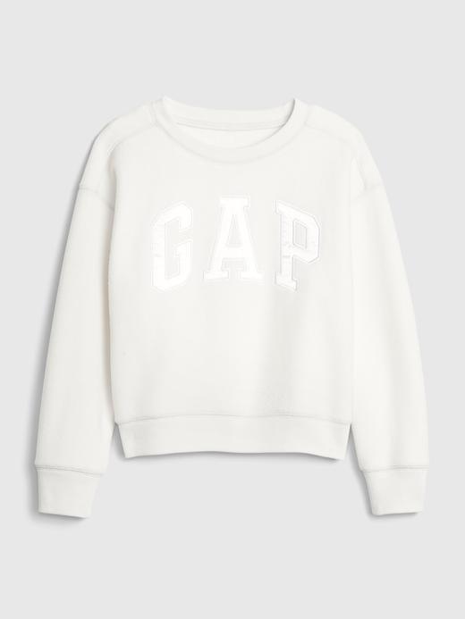 Kız Çocuk Beyaz Gap Logo Yuvarlak Yaka Sweatshirt