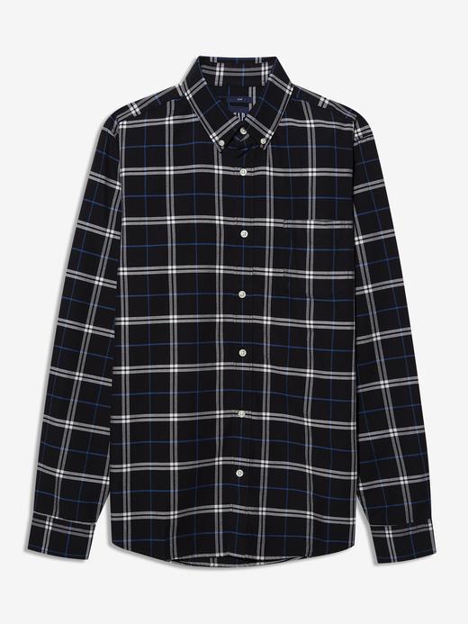 Erkek Siyah Oxford Slim Fit Ekose Gömlek