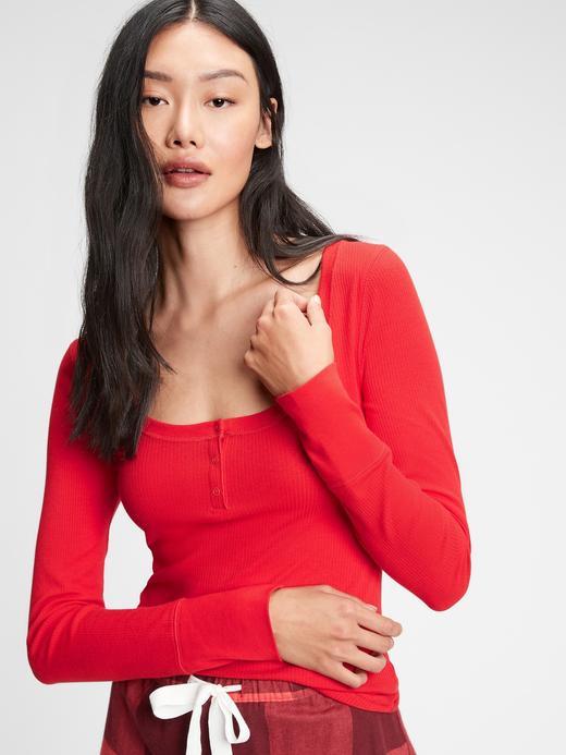 Kadın Kırmızı Fitilli Henley Uzun Kollu Pijama Üstü