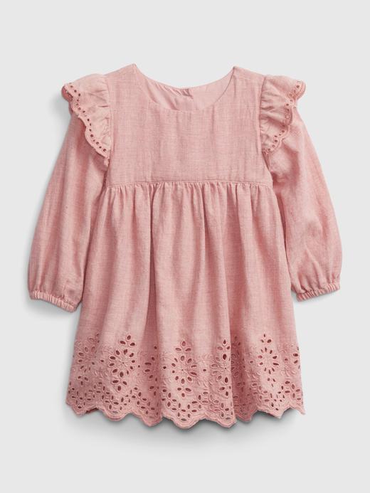 Kız Bebek Pembe Uzun Kollu Fisko Elbise