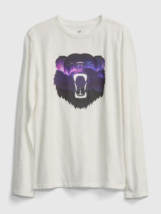 Erkek Çocuk Beyaz İnteraktif Grafik T-Shirt