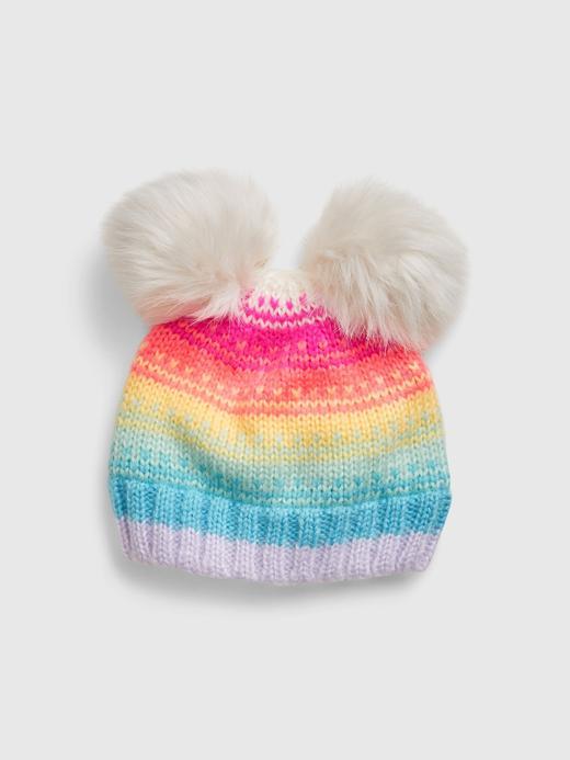 Bebek Çok Renkli Renkli Çizgili Ponponlu Bere