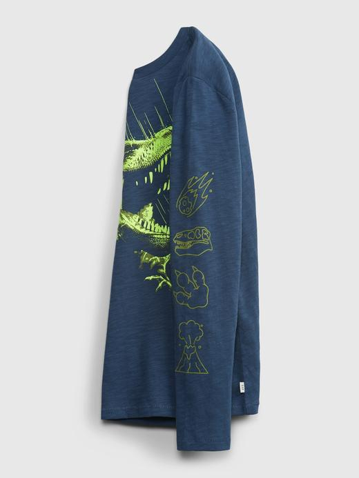 Erkek Çocuk Lacivert Grafik Uzun Kollu T-Shirt
