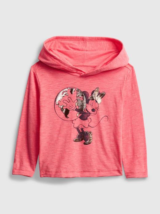 Kız Bebek Pembe Disney Minnie Mouse Kapüşonlu T-Shirt