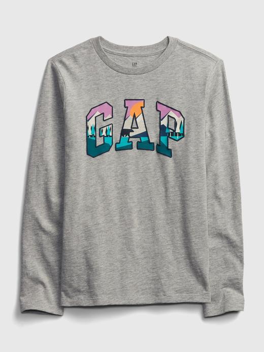 Erkek Çocuk Gri Gap Logo Uzun Kollu T-Shirt