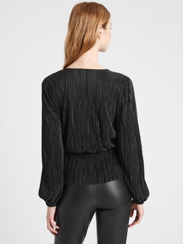 Kadın TRUE BLACK Pırıltılı Kruvaze Bluz