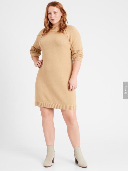 Kadın Kahverengi Yuvarlak Yaka Kazak Elbise