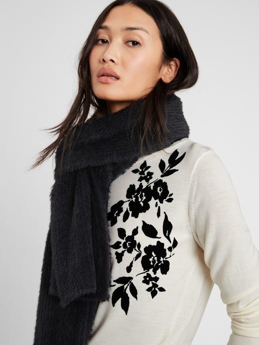 Kadın SOFT WHITE Merino Yünlü Çiçek Desenli Kazak