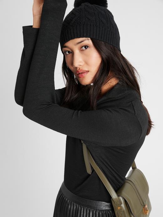 Kadın Siyah Luxespun Dökümlü Yaka Bluz