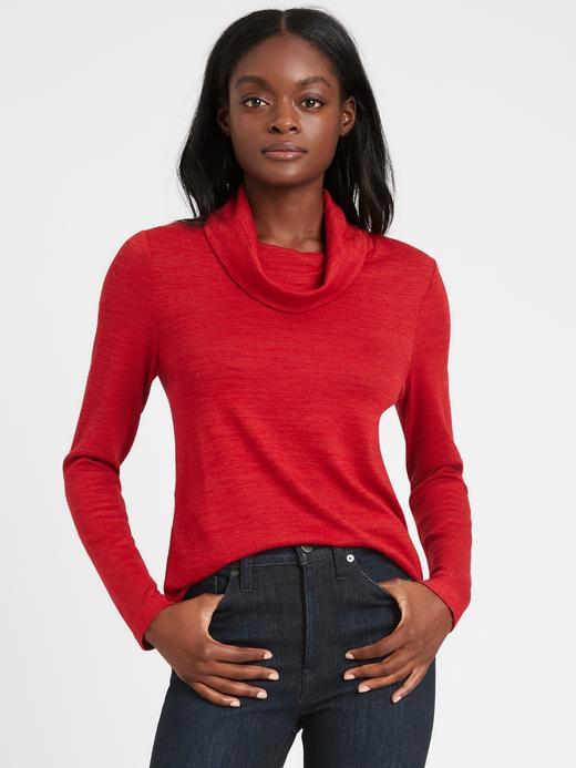Kadın Kırmızı Luxespun Dökümlü Yaka Bluz