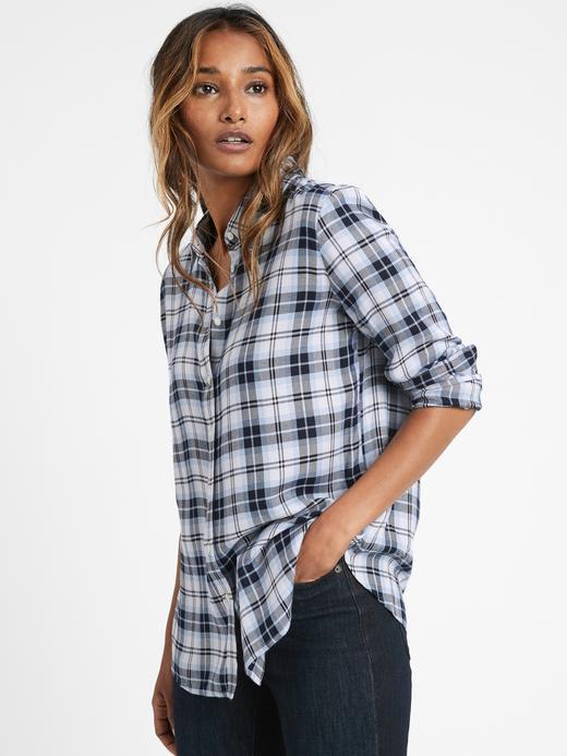 Kadın BLUE PLAID Dillon Classic-Fit Ekose Gömlek