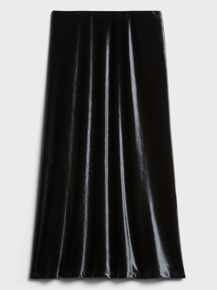 Kadın BLACK K-100 Kadife Midi Etek