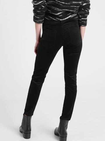 Kadın BLACK Mid-Rise Skinny Kadife Pantolon