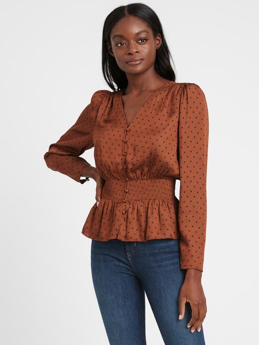 Kadın Kahverengi Saten Balon Kollu Bluz