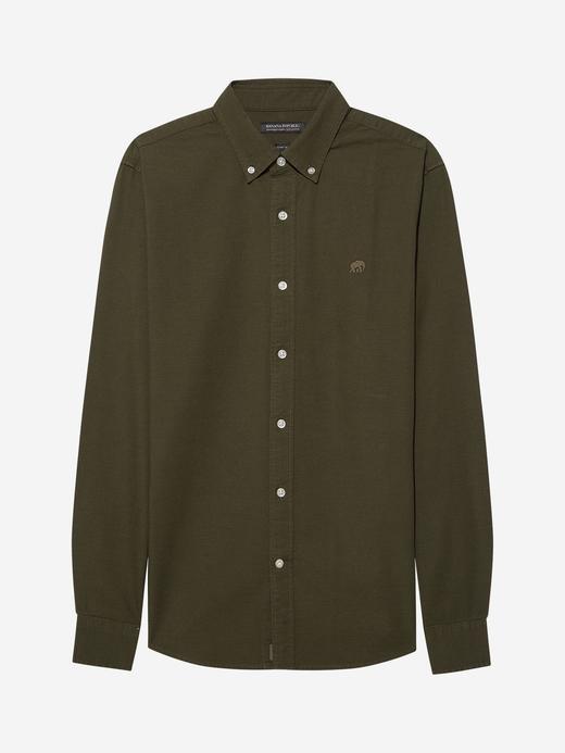 Erkek Yeşil Untucked Fit Oxford Gömlek