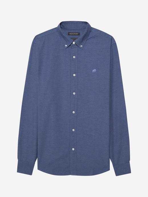 Erkek Mavi Untucked Fit Oxford Gömlek