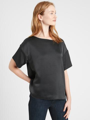 Kadın siyah Relaxed Saten Bluz