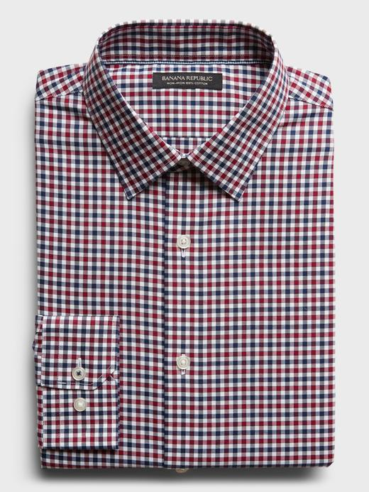 Erkek DEEP RED Ütü Gerektirmeyen Standart-Fit Gömlek