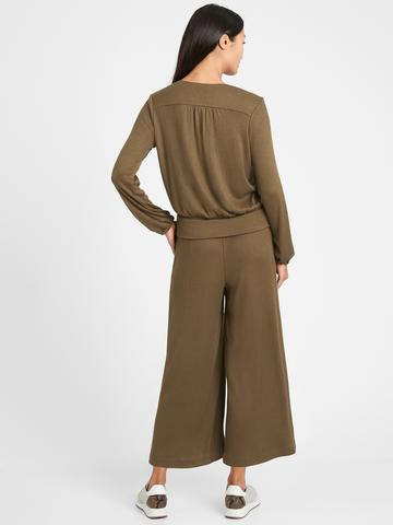 Kadın kirmizi Cozy V Yaka Bluz