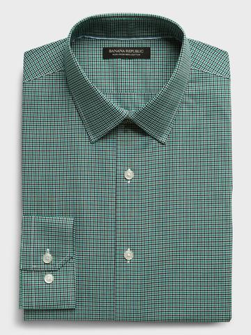 Erkek Yeşil Ütü Gerektirmeyen Slim-Fit Gömlek