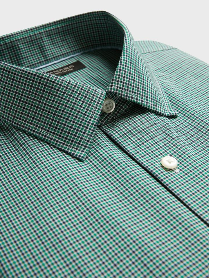 Erkek BLUE PLAID Ütü Gerektirmeyen Slim-Fit Gömlek