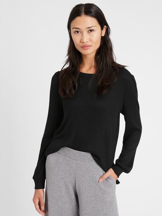 Kadın BLACK Balon Kollu Cozy Bluz