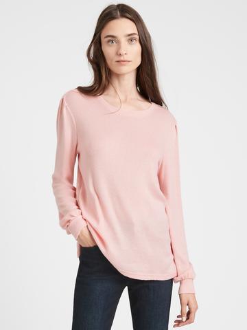 Kadın pembe Balon Kollu Cozy Bluz