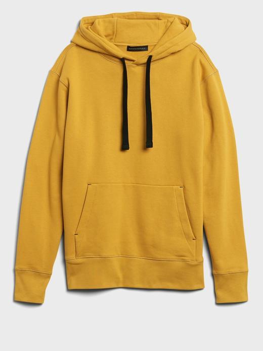 Erkek Sarı Organik Pamuklu Kapüşonlu Sweatshirt