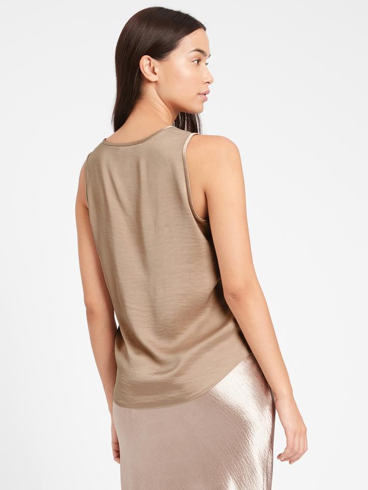 Kadın Bej Askılı Saten Bluz