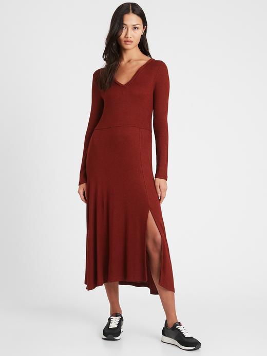 Kadın Kırmızı Yırtmaç Detaylı Triko Elbise
