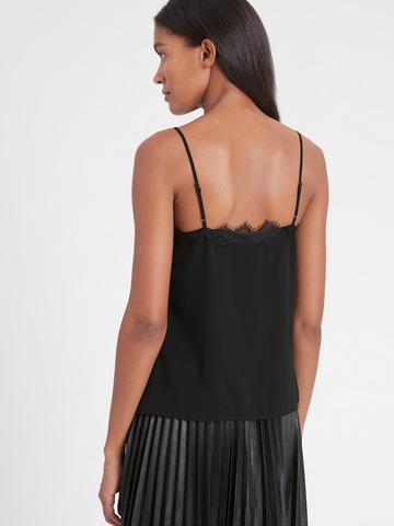 Kadın Siyah Dantel Detaylı Askılı Bluz