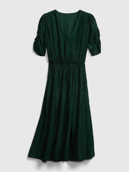 Kadın  Kadife V Yaka Elbise