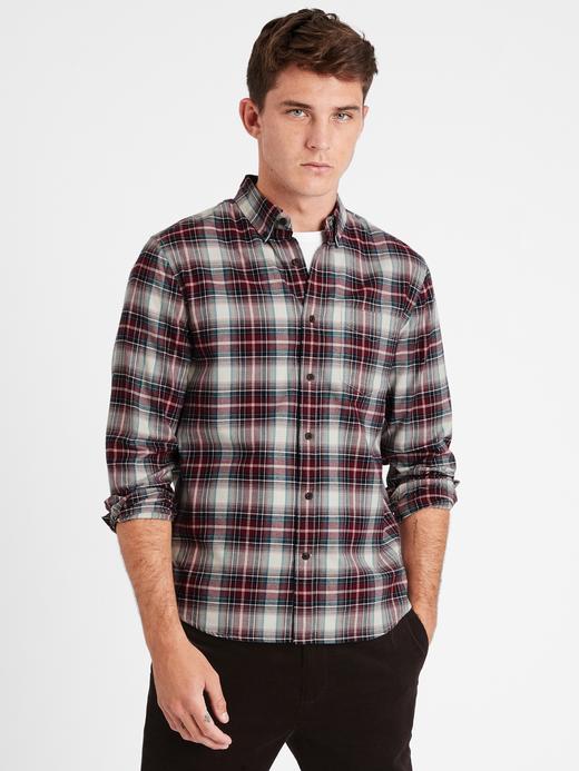 Erkek  Untucked Slim-Fit Flannel Gömlek