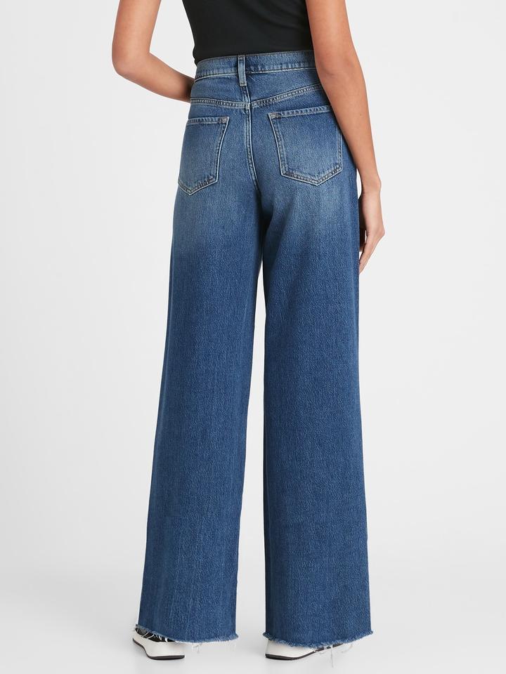 Kadın MEDIUM WASH High-Rise Wide-Leg Jean Pantolon