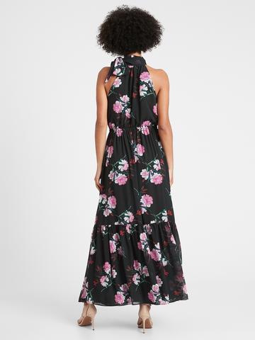 Kadın  Halter Yaka Çiçekli Maxi Elbise