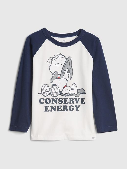 Erkek Bebek Beyaz Snoopy Grafik T-Shirt