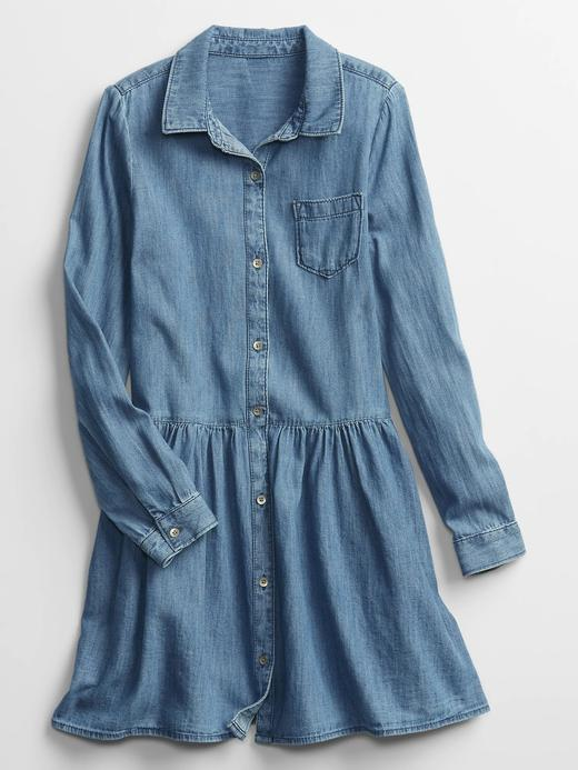 Kız Çocuk Mavi Uzun Kollu Denim Elbise