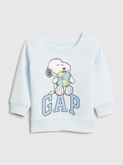 Erkek Bebek Mavi Snoopy Yuvarlak Yaka Sweatshirt