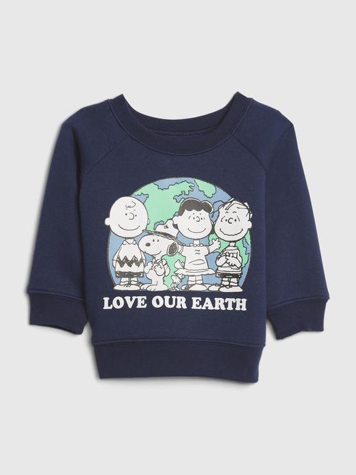 Erkek Bebek lacivert Snoopy Yuvarlak Yaka Sweatshirt
