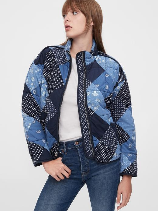 Kadın Mavi Patchwork Ceket