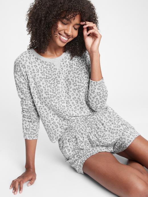 Kadın Gri Desenli Pijama Üstü