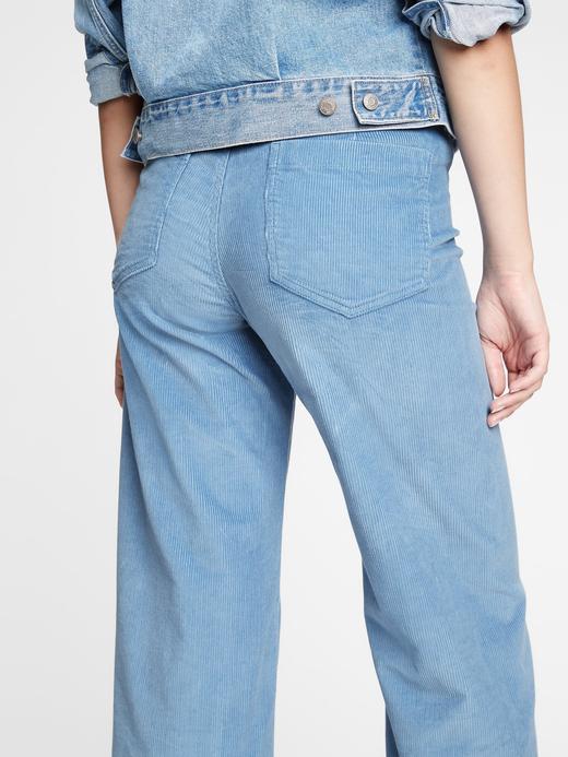 Kadın  High Rise Wide-Leg Kadife Pantolon