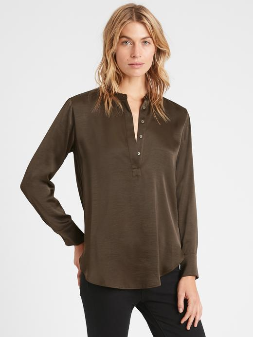 Kadın Yeşil Saten V Yaka Bluz