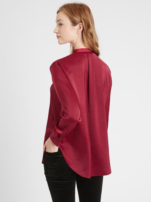 Kadın Bej Saten V Yaka Bluz