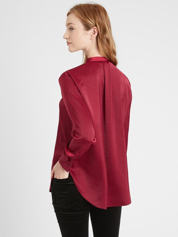 Kadın  Saten V Yaka Bluz