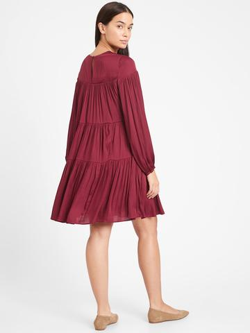 Kadın Kırmızı Saten Uzun Kollu Elbise