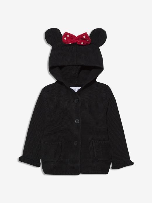 Erkek Bebek Siyah Disney Minnie Mouse Kapüşonlu Hırka