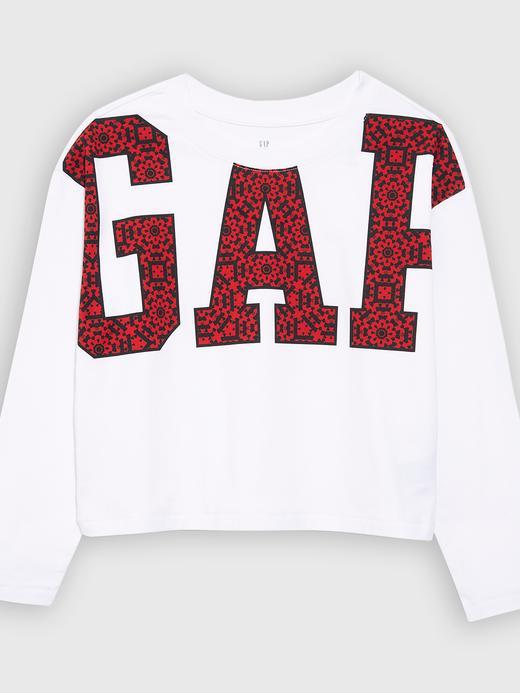 Kız Çocuk Beyaz Gap Logo Uzun Kollu T-Shirt