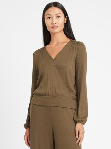 Kadın Yeşil Cozy V Yaka Bluz