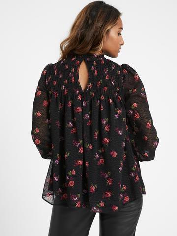 Kadın Siyah Çiçek Desenli Balon Kollu Bluz